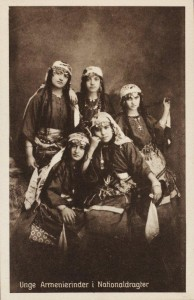 A postcard from the archives of the Danish Women Missionary Workers, c. 1910, one of a series sold to raise money for missionary work among Armenians in the Ottoman Empire. The caption reads: 'Young Armenian women in national costumes' These Armenian women, probably from the Kharpert region where the Danish organization was based, would have looked exotic in the West at the time, but they do not look weak or passive as 'Oriental' women often do in Western imagery. It is rather an image of strong, assertive women, an image which women missionaries would not have picked at random to put on a postcard. Virtuous victims, perhaps, living proof that missionary work mattered?