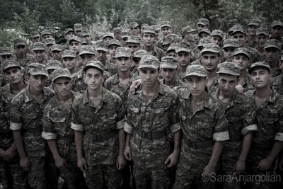 Conscripts at the Yeghnikner military base in Nagorno-Karabakh.