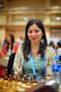 Lilit Mkrtchyan from the Armenian women's team at the Olympiad (Photo by Arman Karakhanyan)