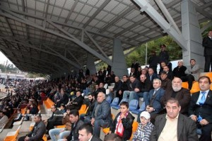 Spectators at the Artsakh-Abkhazia match at Stepanekert Stadium
