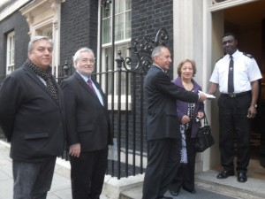 Handing in letter at 10 Downing Street (L-R): Viken Haladjian (chairman of the Executive Committee), Mr Ara Palamoudian (chairman of ACCC), Mr. Raffi Sarkissian (chairman of CRAG) , Mrs Zabel Malas (community representative)