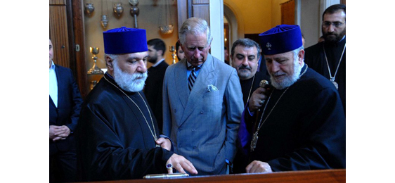 HRH Prince Charles with the Catholicos of all Armenians and Archbishop Nathan (former Bishop to UK and Northern Ireland)