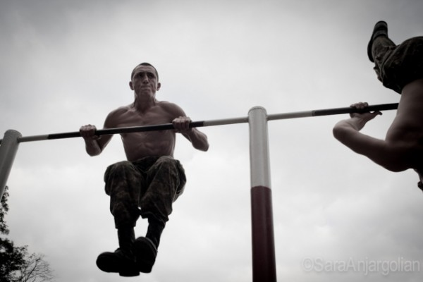 Conscripts during the daily exercise regimen at Yeghnikner military base, Nagorno-Karabakh.