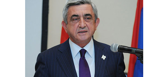 President Serzh Sargsyan delivering his speech at the reception organised by the Armenian Community & Church Council of Great Britain in honour of the Olympian athletes