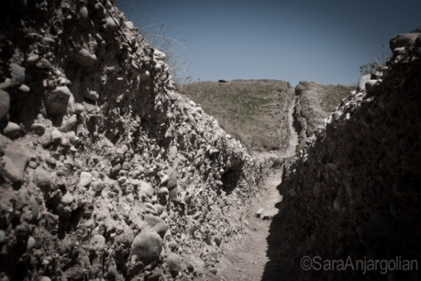 """Trenches at the Mataghis frontline near Martakert, Nagorno-Karabakh. During the Karabakh war (1988-1994), this area was nicknamed """"the prostitute's fishnet stockings,"""" referencing the multitude of holes across the landscape caused by heavy shelling."""